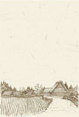 Poster Esboço da vila da herança mundial Shirakawa-go no Japão