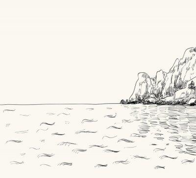 Poster Esboço do seascape do verão do vetor. Vista mar e montanha