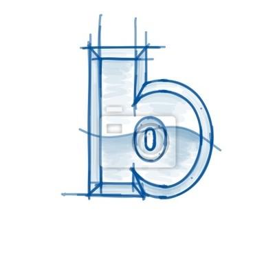 esboço fonte blueprint letra b desenho do marcador cartazes para