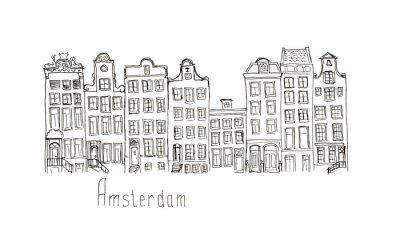 Poster Esboço, Holanda, Amsterdão, casas, isolado, rotulação