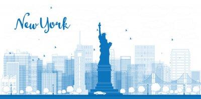 Poster Esboço New York skyline da cidade com arranha-céus