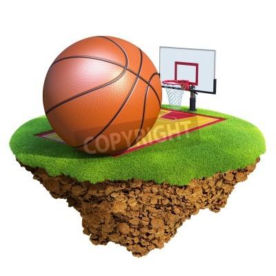 Poster Esfera do basquetebol, encosto, arco e corte com base em pouco planeta. Conceito para a equipa de basquetebol ou o projeto da concorrência. Ilha minúscula / coleta planeta.