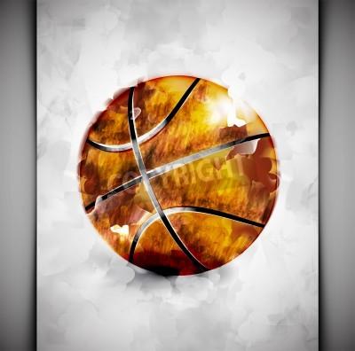 Poster Esfera do basquetebol no estilo da aguarela