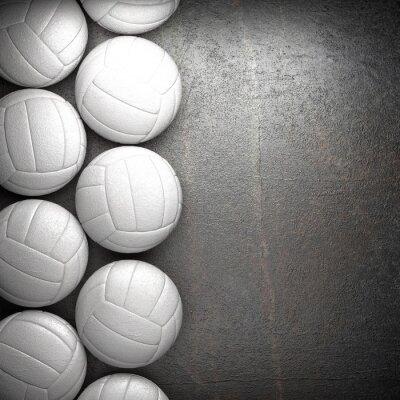 Poster Esfera do voleibol e do metal parede de fundo