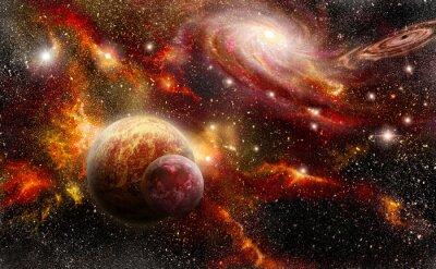 Poster espaço em tons alaranjados vermelhos