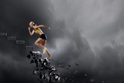 Poster Esportes mulher superar desafios