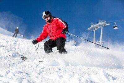 Poster esqui esquiador masculino na estância de esqui