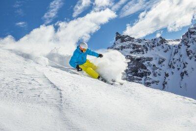 Poster Esqui esquiador nas montanhas altas