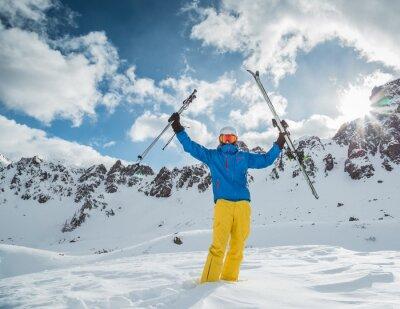 Poster Esquiador, alto, montanhas