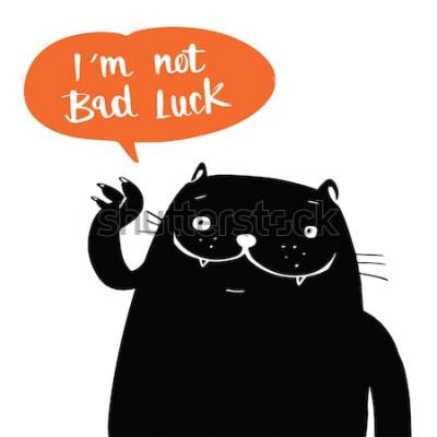 Poster Estilo de ilustração vetorial doodle um gato preto e eu não sou má sorte no discurso do balão, projeto dos desenhos animados.