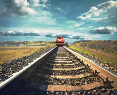 Poster Estrada de ferro com um trem de carga