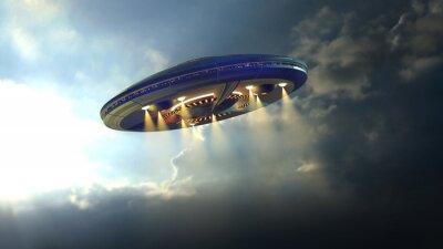 Poster Estrangeiro UFO disco voador através das nuvens acima da Terra