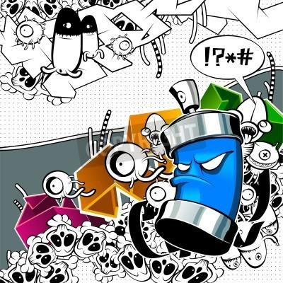 Poster Estranho com grafittis lata