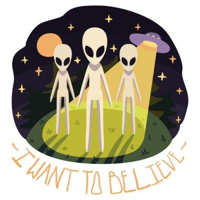 Poster Eu quero acreditar o cartaz do vetor (fundo) com os estrangeiros no monte e no UFO na noite com Lua cheia e as estrelas (estilo dos desenhos animados)