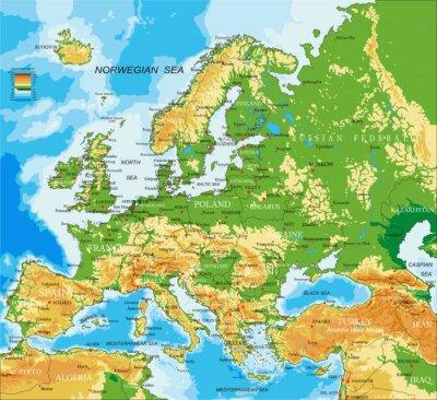 Poster Europa - mapa físico