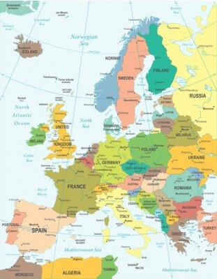 Poster Europa mapa - Ilustração altamente detalhada do vetor.