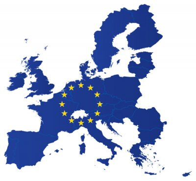 Poster Europe union map with flag