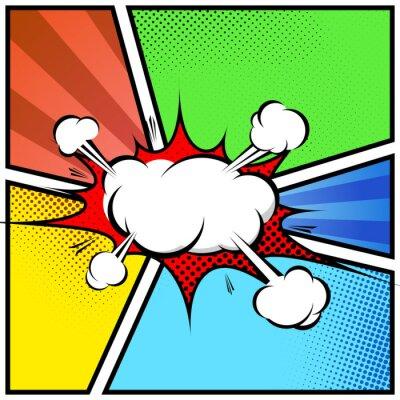 Poster Explosão de nuvem abstrato estilo da banda desenhada modelo de quadro de página