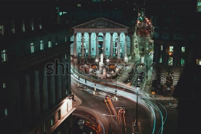 Poster Exposição Longa - Royal Stock Exchange - Londres - Light Trails - Cidade de Londres