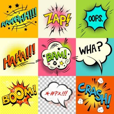 Poster Expressões da banda desenhada! Um conjunto de bolhas cómicas do discurso livro e expressão palavras. Ilustração do vetor