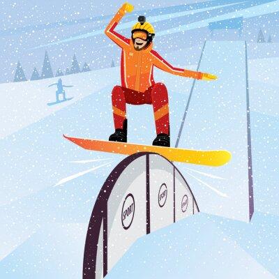 Poster Extremo, atleta, move, baixo, montanha, snowboard