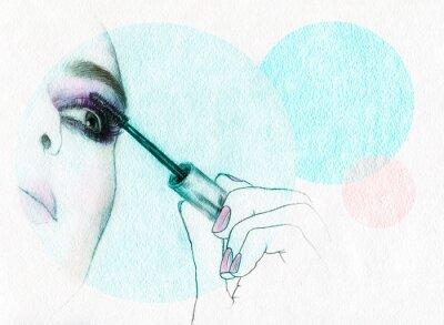 Poster Face bonita da mulher. ilustração da aguarela