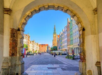Poster Fachadas góticas coloridas na cidade velha de Gdansk, Polônia