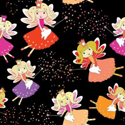 Poster Fadas de dente com varinhas mágicas e estrelas ao redor. Padrão sem costura. Ilustração do vetor no fundo preto