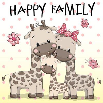 Poster Família de três girafas