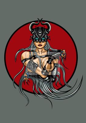 Fantasia Demoniaca Mulher Emblema Cartazes Para A Parede Posters Valquiria Seminu Tranca Myloview Com Br