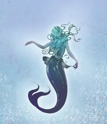 Poster Fantasy original raster illustration of a cute and beautiful anime mermaid with long blue curly  hair with her back to the viewer