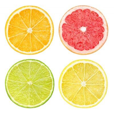 Poster Fatias de frutas cítricas isolado no branco