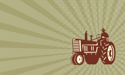 Poster Fazendeiro que conduz o trator do vintage retro