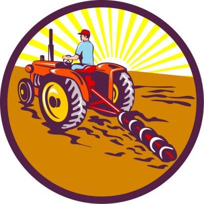 Poster Fazendeiro, trator, círculo, retro