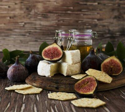 Poster Figos, queijo, mel, seletivo, foco