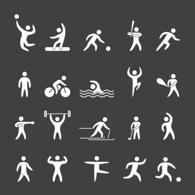 Poster Figuras da silhueta de atletas de esportes populares