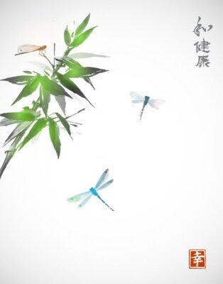 Poster Filial de bambu e três libélulas