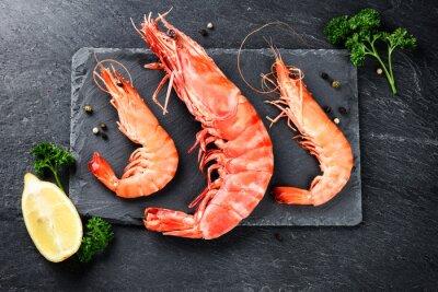 Poster Fino, seleção, jumbo, camarões, jantar, pedra, prato