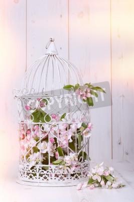 Poster Flor de Apple encheu antique gaiola no fundo de madeira