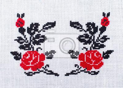 Flores Rosas Bordado Padrão De Ponto Cruz Ornamento étnico