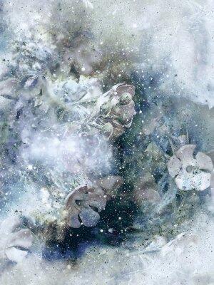 Poster Flovers e fundo do inverno, arte do estilo velho, colagem do computador.