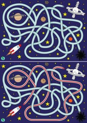 Poster Foguete de espaço labirinto