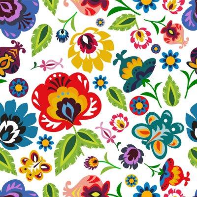 Poster Folclórica polonesa tradicional padrão floral vector