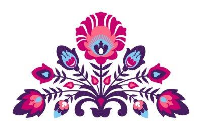 Poster Folclórico papercut estilo flores