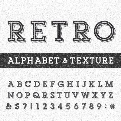 Poster Font alfabeto vetor retro com angustiado sobreposição textura. Letras serif tipo, números e símbolos em um fundo afligido riscado. Vetor da tipografia para etiquetas, manchetes, cartazes etc.