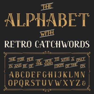 Poster Font alfabeto vetor retro com palavras de ordem. Letras ornamentadas e palavras de ordem a, por, um, de, com, por etc. vetor da tipografia para etiquetas, manchetes, cartazes etc.