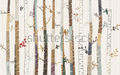 Poster Forest tree pattern on decorative background wallpaper