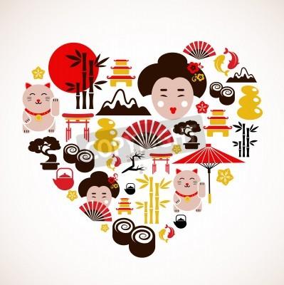 Poster Forma do coração com Japão ícones