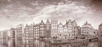 Poster Foto do vintage de edifícios de Amsterdão