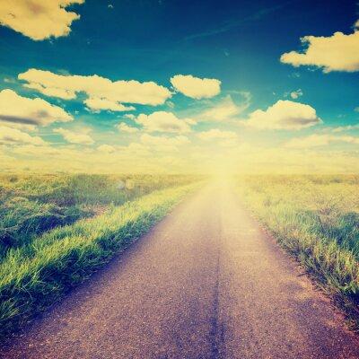 Poster Foto do vintage do campo e do país estrada com a luz solar